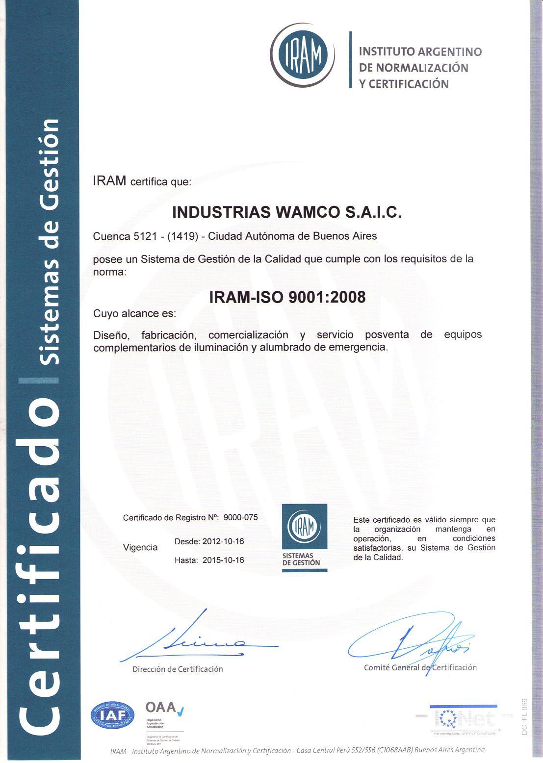 Certificados Wamco